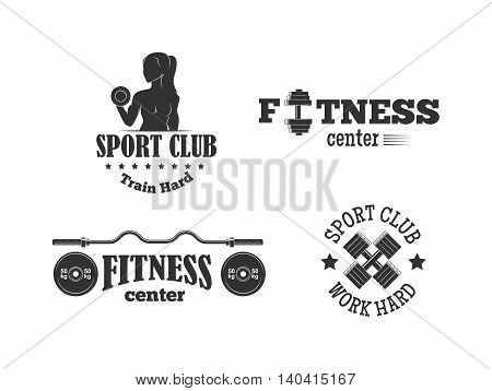 Set of monochrome gym fitness emblems, labels, badges, logos and designed elements. Gym fitness logo muscle body weight bodybuilding. Strong people club vector gym fitness logo set.