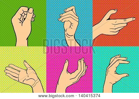 Human popart hands different pose signal human fingers. Human hands isolated. Silhouette of hands showing symbols finger thumb vector illustration. poster