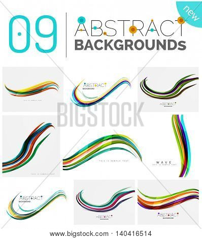 Wave abstract background collection - color lines with light effects. Modern elegant motion concept, smooth wavy shape. Presentation banner and identity business card message design template set