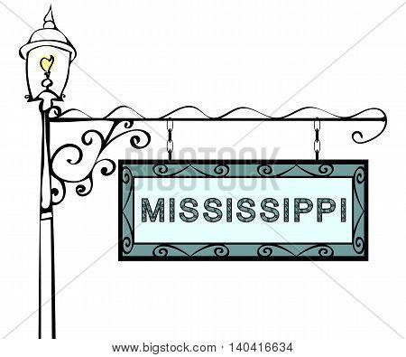 Mississippi retro pointer lamppost. Mississippi state America tourism travel.
