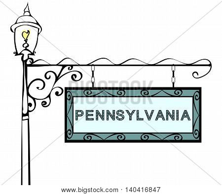 Pennsylvania retro pointer lamppost. Pennsylvania State America tourism travel.
