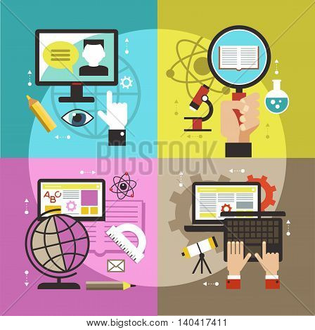 Flat vector concept education infographics. Online training courses, tutoring for school program.