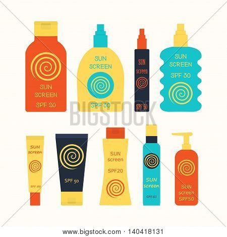 Sunscreen bottle set. vector illustration of lotion plastic container cream packaging for sun screen skin cancer protection spray spf icon