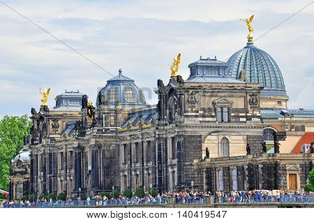 DRESDEN GERMANY - JUNE 14: View of a Dresden Academy of Fine Arts on June 14 2014. Dresden is the capital city of the Free State of Saxony in Germany.