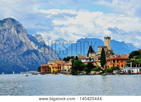 MALCESINE ITALY - JULY 27: View of Malcesine historical town on Garda lake Italy on July 27 2014. Malcesine is a resort on northern part of Garda lake in Italy.