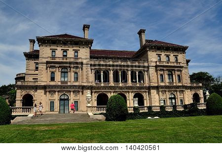 Newport Rhode Island - July 17 2015: The Breakers (1895) designed by Richard Morris Hunt for Cornelius Vanderbilt II as the family summer home built in Italian Renaissance style