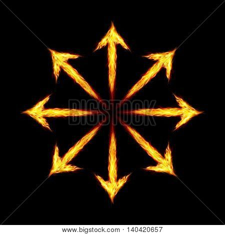 Many fire arrows directed outwards. Illustration on black background