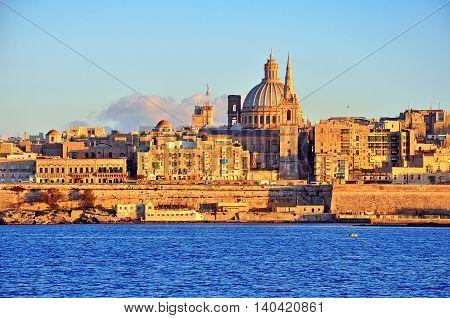 View of Valletta skyline on sunset, Malta
