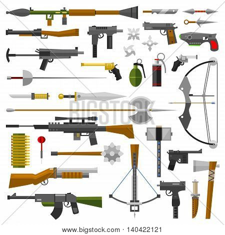 Weapons vector guns collection icons. Pistols, submachine guns and assault rifles. Sniper rifles, knifes and grenade vector icons. Weapon gun illustration isolated on white background poster