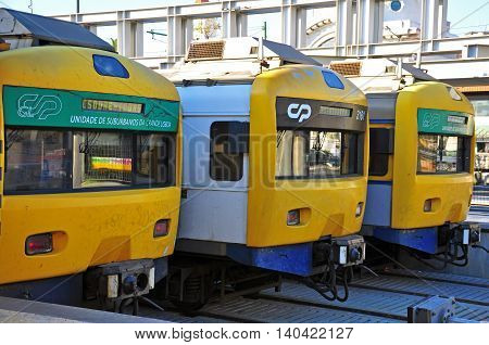 LISBON PORTUGAL - DECEMBER 4: Trains stand on the