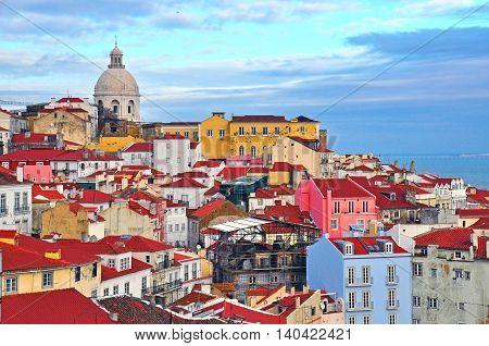 Colorful houses of Alfama district Lisbon Portugal