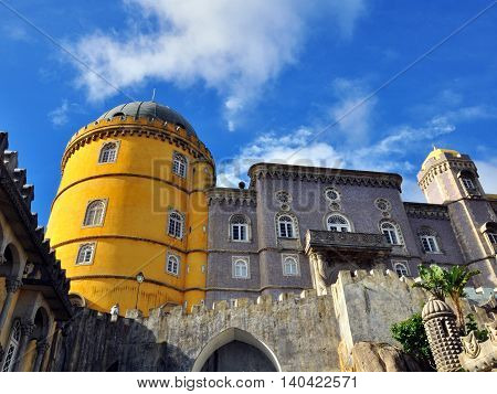 View of the facade of Pena palace, Portugal