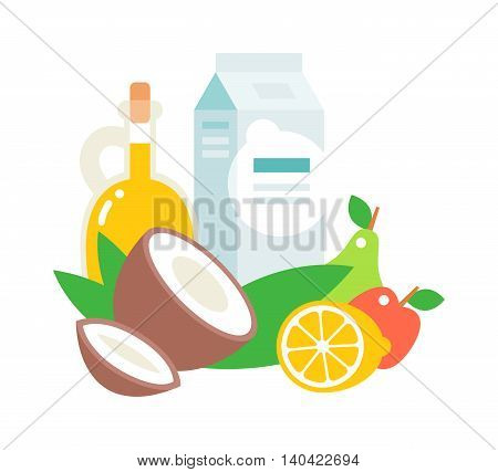 Common everyday food products. Cartoon icons set everyday products provision, milk and fruits, coconut milk. Everyday products vector illustration organic natural healthy breakfast food.