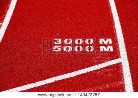 The 5000 meter and the 3000 meter start line on a red track with white lines