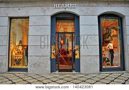 LISBON PORTUGAL - DECEMBER 27: Hermes flagshop store in Lisbon district Bairro Alto on december 27 2013. Hermes is a luxury french fashion brand.