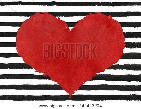 Red Watercolor Grunge Heart On Abstract Black Brush Strokes Background.