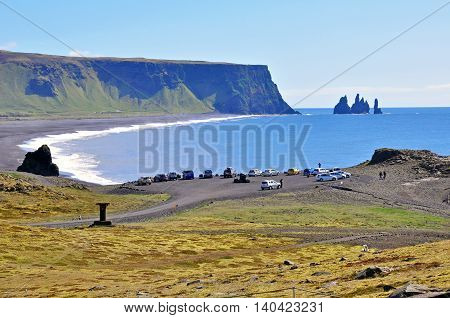 Beautiful black beach Dyrholaey in the south of Iceland
