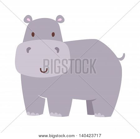 Fun hippo vector illustration. Hippo animal wildlife mammal, zoo wild africa cute animal nature fat african hippo. Big mouth water animal wilderness overweight funny wild character.