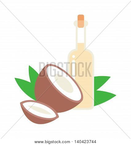 Coconut oil vector illustration. Healthy brown half coconut and oil bottle tropical diet nutrition. Coconut oil cosmetic coco wellness therapy exotic treatment. Vitamin health fruit food.