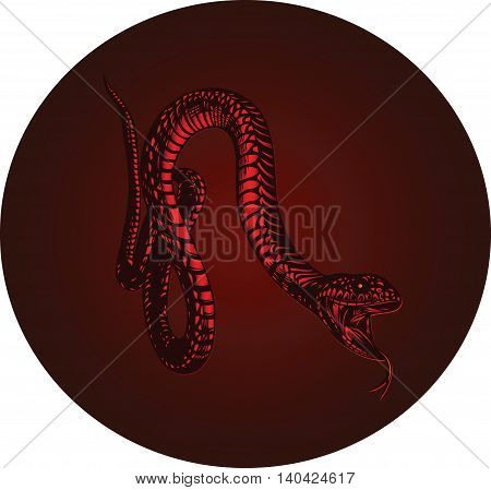 fiery red monster snake with open mouth