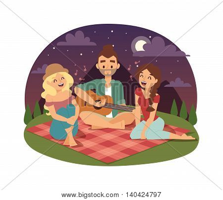 Friends picnicking summer happy lifestyle park outdoors together, enjoying meadow vacation character vector. Friends picnic vacation and summer family picnic. Happy Friends picnic resting outdoors.