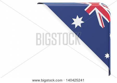 Flag of Australia. Corner button label. 3D rendering isolated on white background