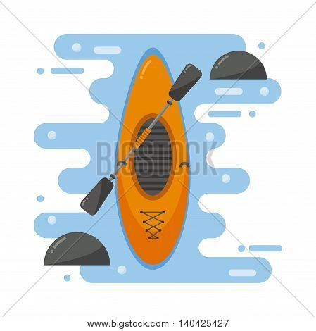 Top view of crossover kayaking boat whitewater and river running kayaking boat isolated. Vector kayaking boat river landscape, orange boat, rowing river. Transportation health sport.