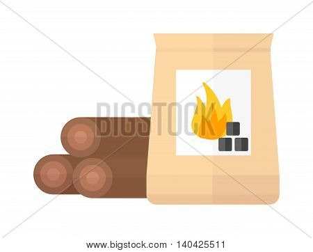 Firewood and charcoal pile isolated on white. Firewood and charcoal vector icon, Firewood and charcoal fire energy coal black wood. Burn natural texture hot fuel firewood and charcoal.