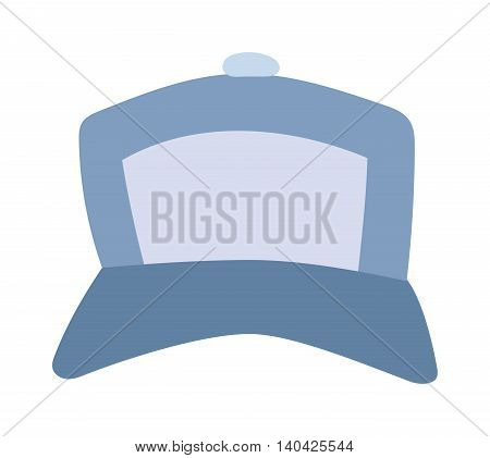 Blue baseball cap isolated on white and baseball cap vector. Sport baseball cap and baseball cap fashion clothing hat. Teenager baseball cap textile blank sport cotton uniform casual template side.