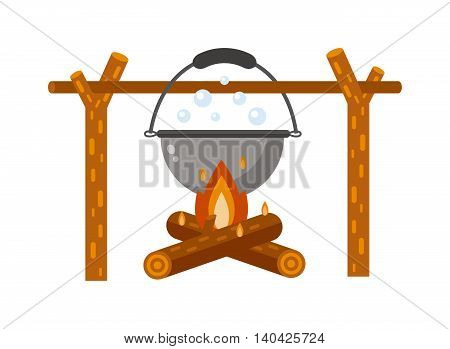 Isolated bonfire with camping pot on white and pot on bonfire camping fresh warm food. Vector pot on bonfire picnic travel and pot on bonfire soup camp food. Cook heat water soup in kettle.