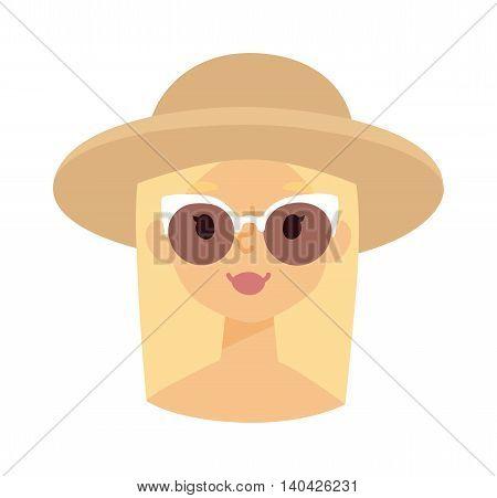 Summer happy girl vector illustration, man summer girl in hat portrait. Happy summer girl character and beach girl vector illustration. Summer girl face sea water vacation. Little happy girl face