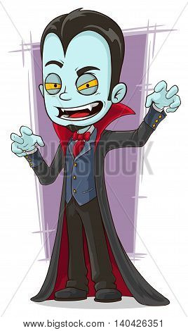 A vector illustration of cartoon scary vampire with canines