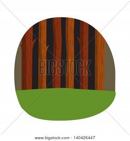 Beautiful green forest tree and forest tree nature vector. Forest tree green environment foliage woods and forest tree park. Forest countryside, tree leaves green grass, woods park and wild nature.