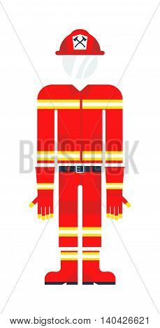 Vector illustration of firefighter uniform isolated on white background. Protective clothes firefighter costume and red safety emergency person protective uniform firefighter costume.
