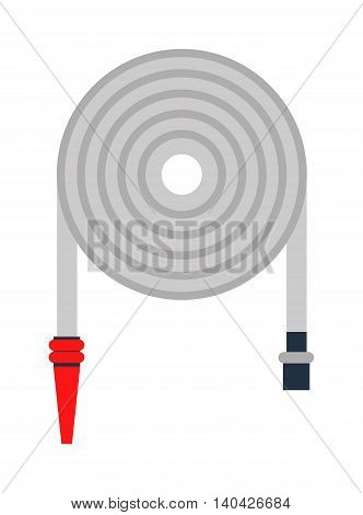 Rolled up red fire fighting hose with coupler and firehose nozzle, firehose isolated on white background. Safety equipment water pressure firehose and extinguisher fighter symbol vector firehose.