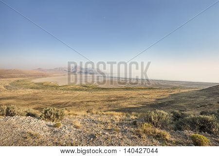 View of the Great Salt Lake in Utah from the top of Antelope Island during sunset
