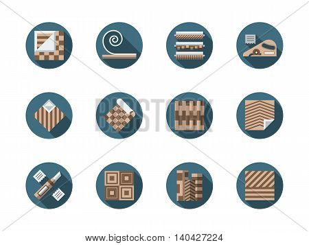 Materials and equipment for repair and construction. Linoleum flooring - samples, installing and other services. Round flat color style vector icons collection.