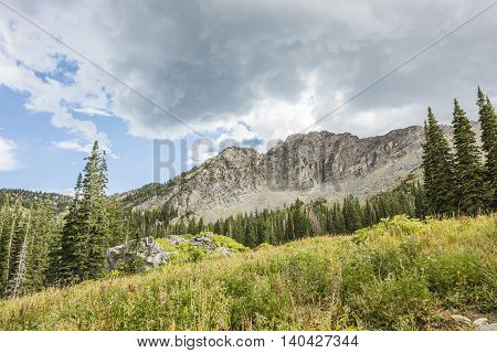 Stormy cloud in Albion basin mountains and alpine forest near Salt Lake City, Utah