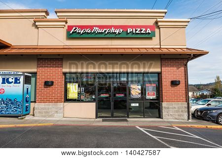 Bellingham, USA - April 3, 2016: Papa Murphy's Pizza store that caters take and bake pizza