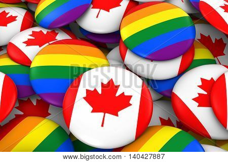 Canada Gay Rights Concept - Canadian Flag And Gay Pride Badges 3D Illustration