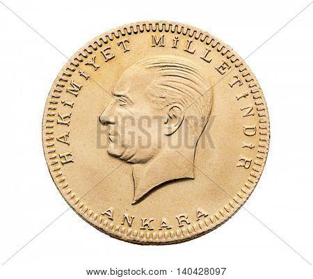 Turkish Gold Coin Back Besli Ata Isolated