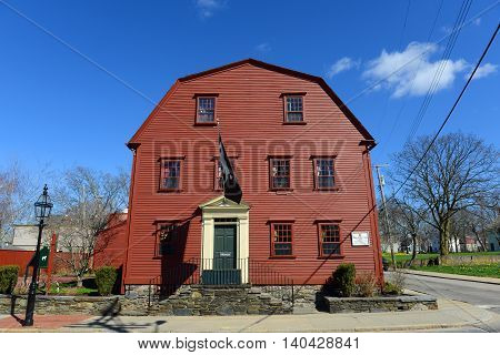 NEWPORT, RI - APR 19: White Horse Tavern was built in 1673, is the oldest continuously operating tarvern of the nation on April 19th, 2015 in Newport, Rhode Island, USA.