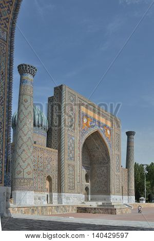 Samarkand, Uzbekistan - June 03, 2014: the Registan square in the center of Samarkand. Samarkand square is the most famous Registan because it is located on her famous architectural ensemble of XV-XVII centuries.