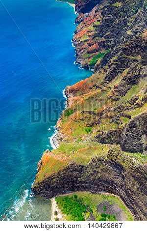 Aerial Landscape View Of Spectacular Na Pali Coastline From Helicopter, Kauai