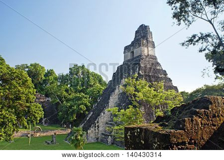 Pyramid in the Mayan city-state of Tikal Guatemala