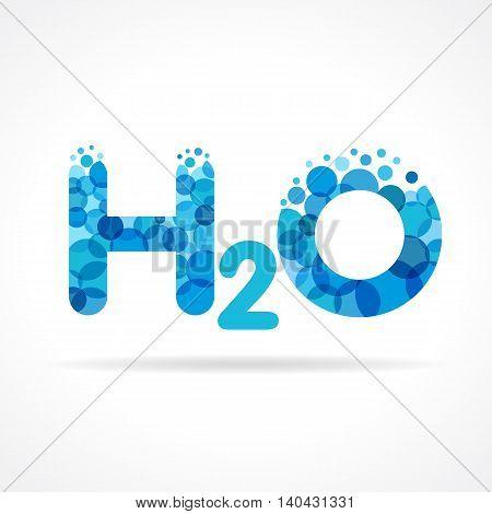Chemical formula for water drops H2O shaped vector. H2O water logo