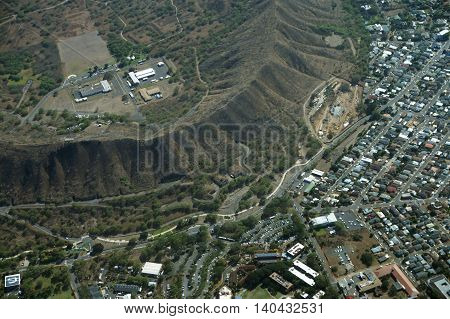 Aerial view of Diamondhead Crater Kapahulu KCC Campus and roads on Oahu Hawaii. April 2016.