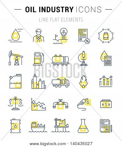 Set vector line icons with open path oil industry power and energy production mining minerals with elements for mobile concepts and web apps. Collection modern infographic logo and pictogram