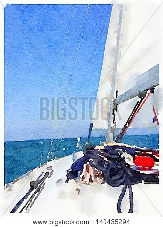 A portrait digital watercolor painting of a sailing boat in the sea with its sails up taken from the deck of the boat. With space for text.