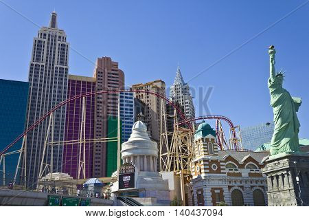 Las Vegas - Circa July 2016: Roller Coaster and Facade of the New York-New York Hotel and Casino its Architecture is Meant to Evoke the Big Apple Skyline I